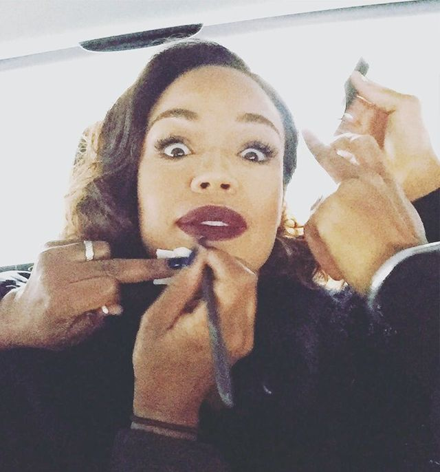 """Last minute makeup touch-up in the car!"""