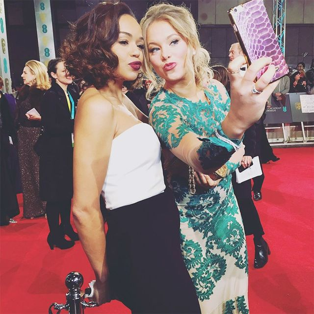 """Posing with the Snapchat star Poppy Jamie who took to the red carpet last night."""