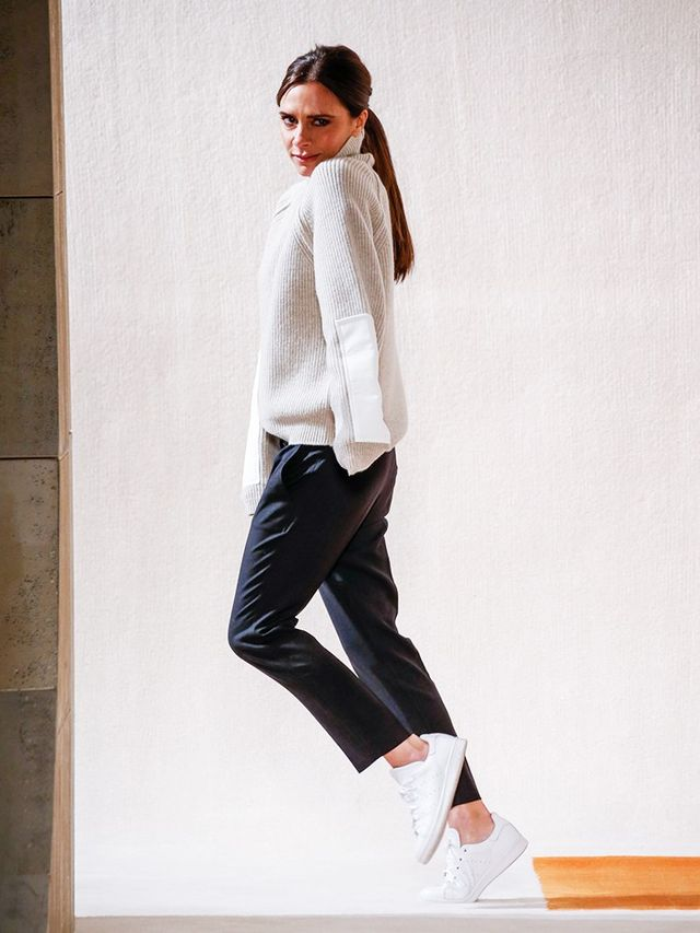 On Victoria Beckham: Victoria Beckham sweater and trousers; Adidas Originals Stan Smith Leather Sneakers (£69).