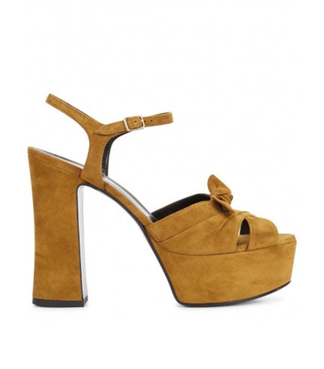 Saint Laurent Candy Olive Suede Platform Sandals