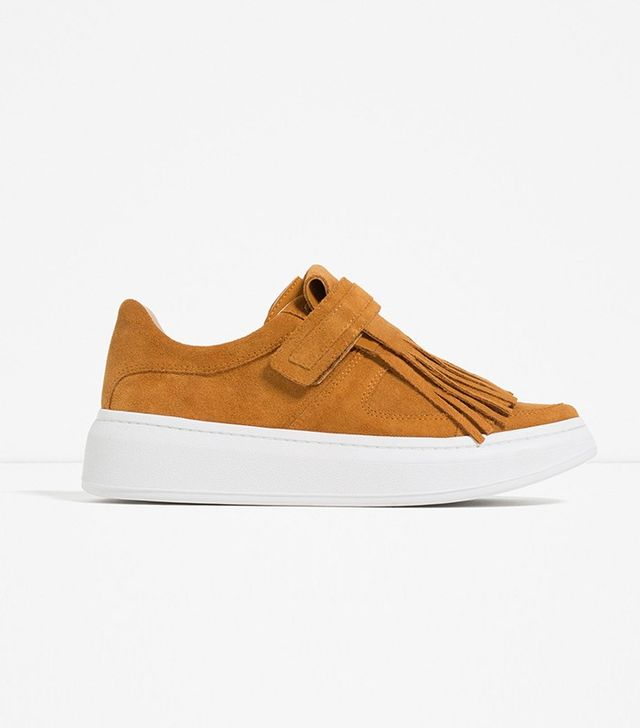 Zara Leather Sneakers with Removable Fringe