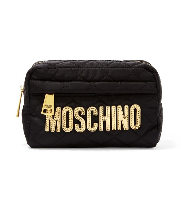 Moschino Metallic Leather-Trimmed Quilted Shell Cosmetics Case