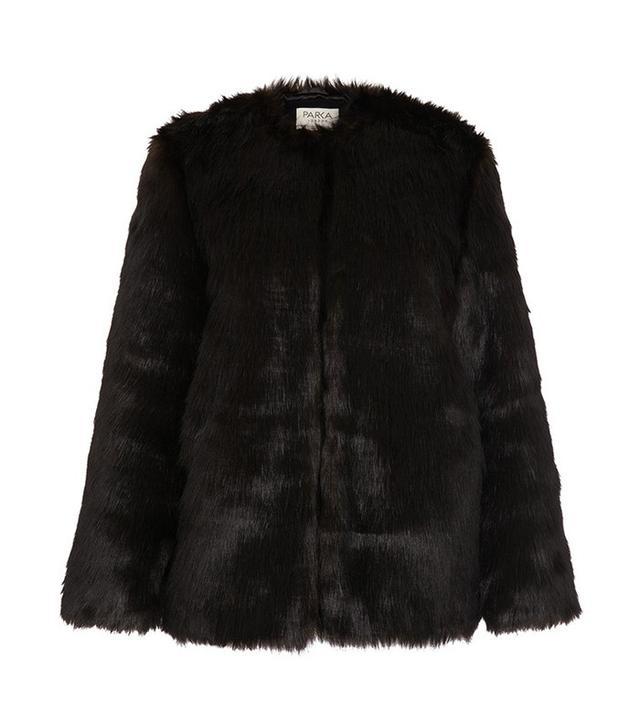 Parka London Black Astra Faux Fur Parka