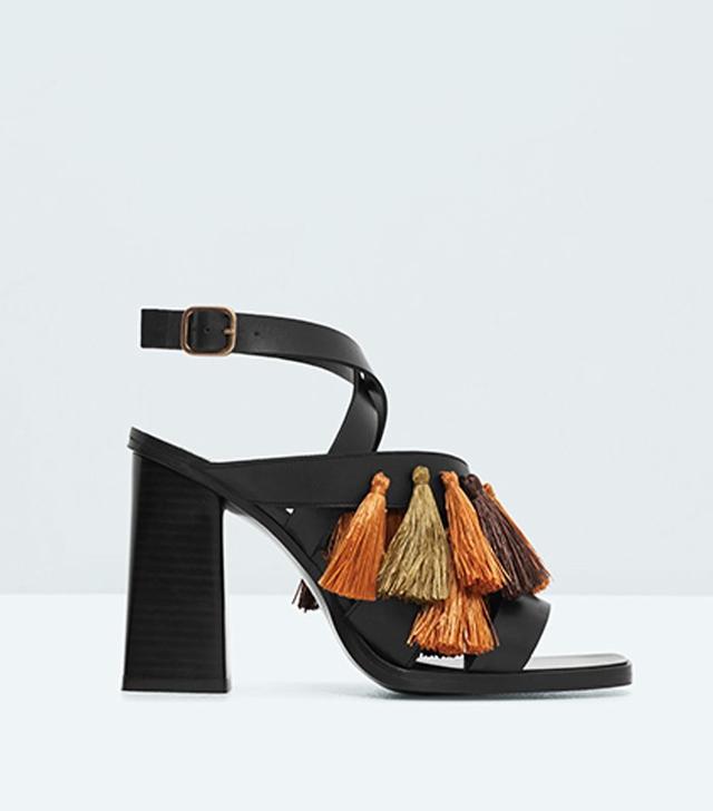 Mango Tassel Leather Sandals