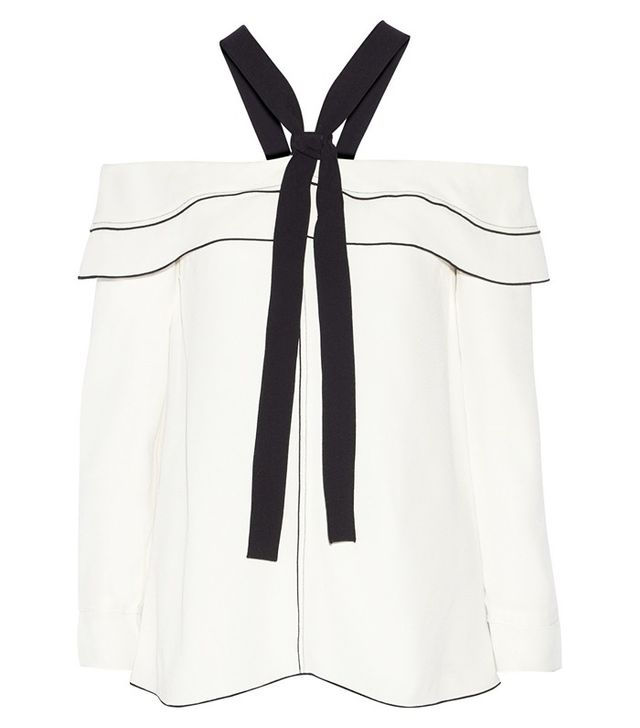 Proenza Schouler Pussy-Bow Off-the-Shoulder Crepe Blouse