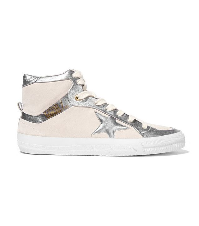 Golden Goose Deluxe Brand Metallic Leather-Paneled Nubuck High-Top Sneakers