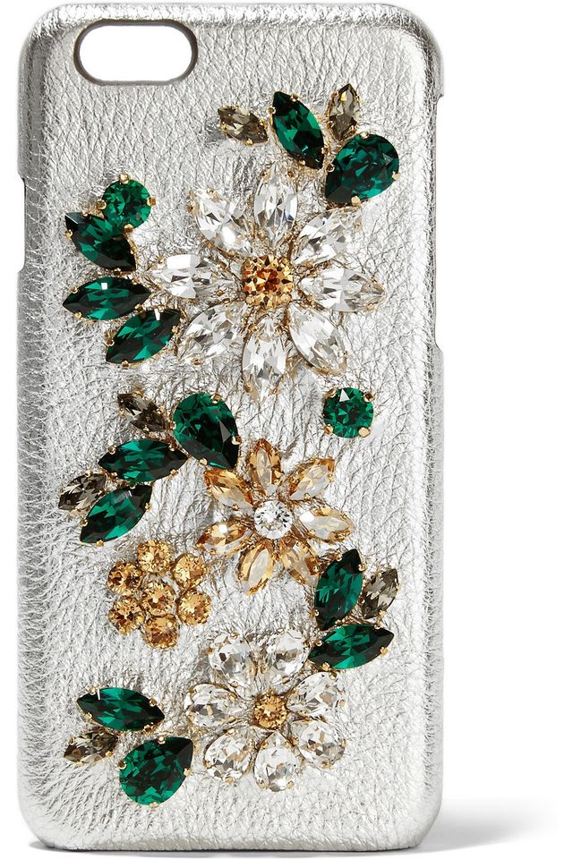 Dolce & Gabbana Crystal-Embellished Textured Leather iPhone 6 Case
