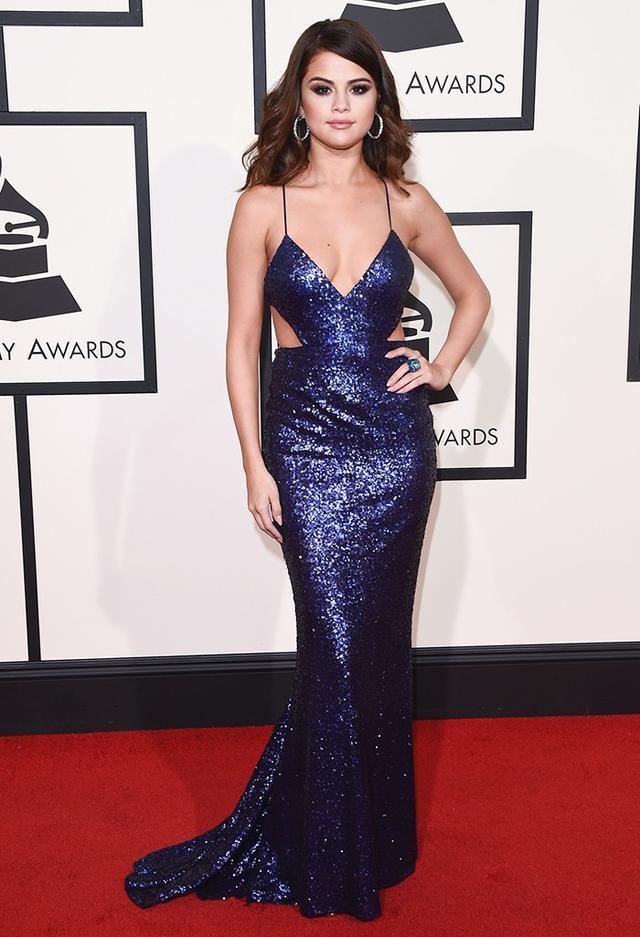 WHO: Selena Gomez WHAT: Presenter WEAR: Calvin Klein Collection dress; David Webb jewellery; Giuseppe Zanotti shoes.