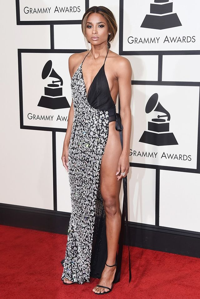 WHO: Ciara WHAT: Singer WEAR: Alexandre Vauthier haute coutureblack silk chiffon leopard crystal embroidered slip dress.