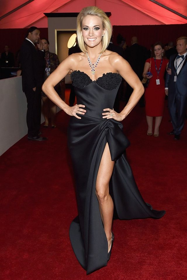 WHO: Carrie Underwood WHAT: Nominee, Best Country Solo Performance WEAR: Nicolas Jebran dress; Giuseppe Zanotti shoes.