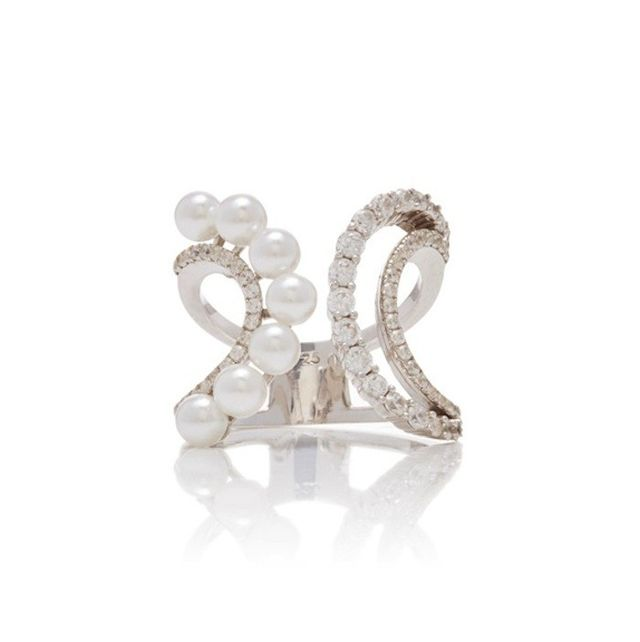 Fallon Axis Pearl Double Wave Ring