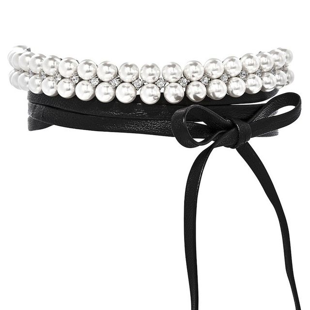 Fallon Monarch Pearl Leather Wrap Choker