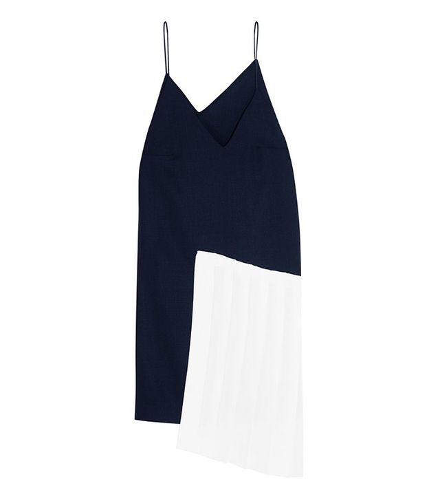 Jacquemus Pleated Linen-Paneled Wool Dress