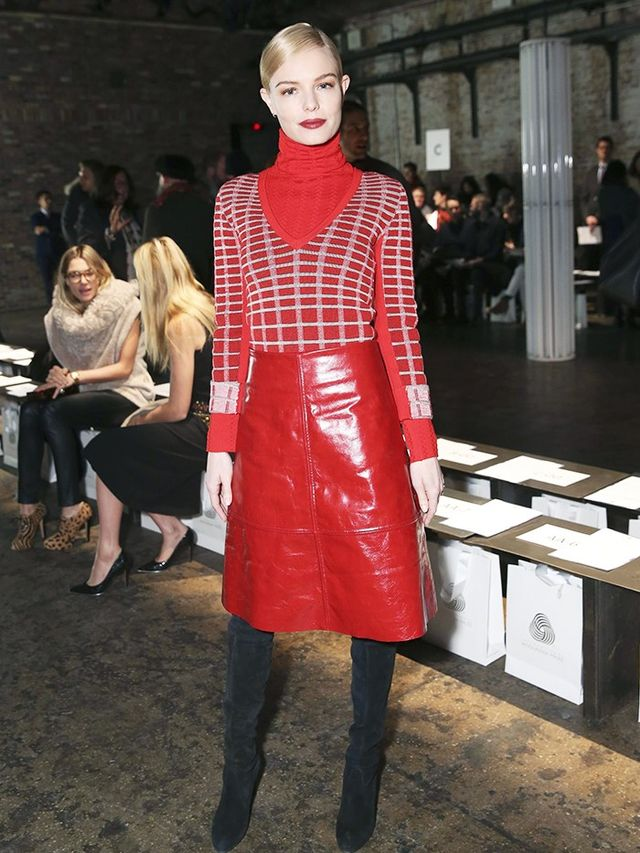 On Kate Bosworth:Creatures of the Wind turtleneck, sweater and skirt; Stuart Weitzman Highland Boots(£650).