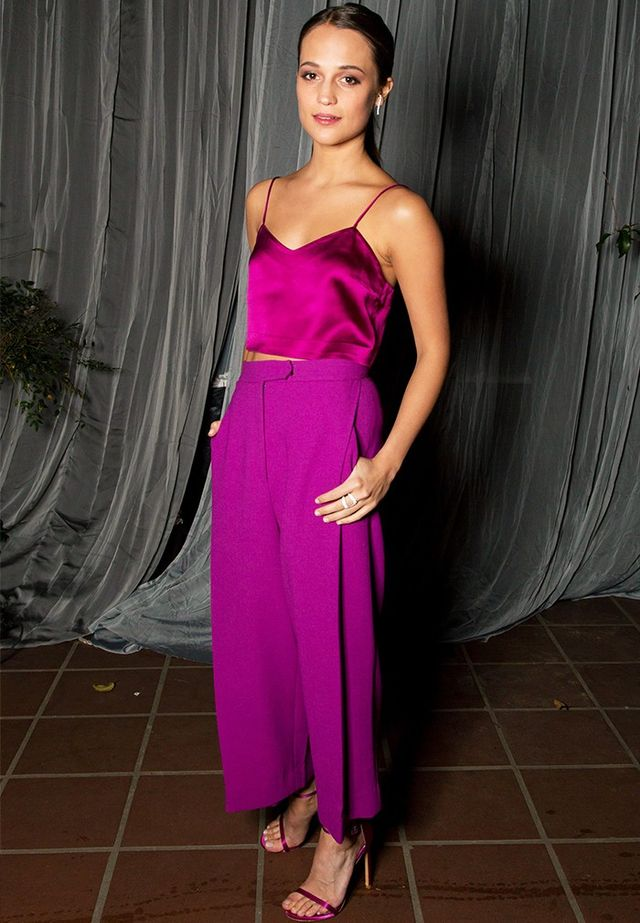 On Alicia Vikander:Barbara Casasola top and trousers.