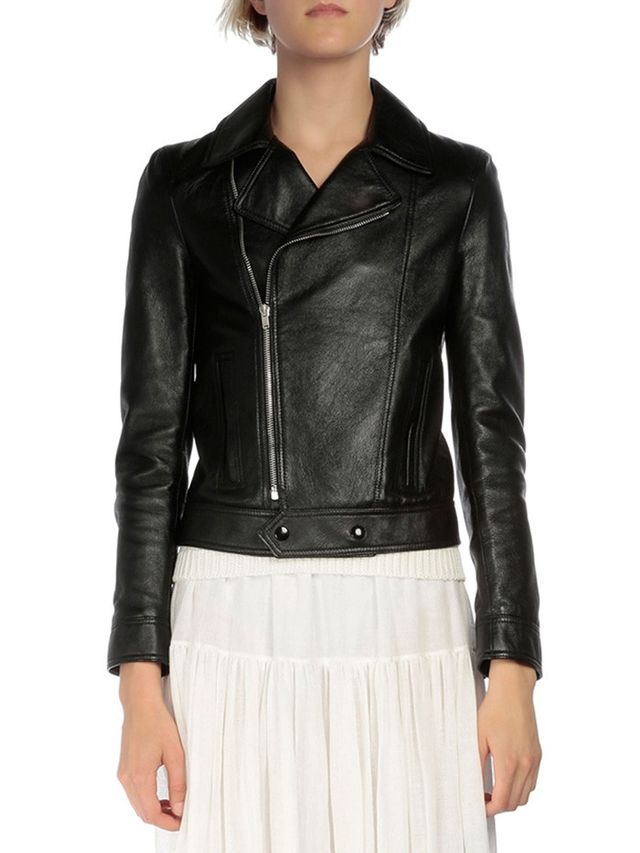Saint Laurent Long-Sleeve Leather Moto Jacket
