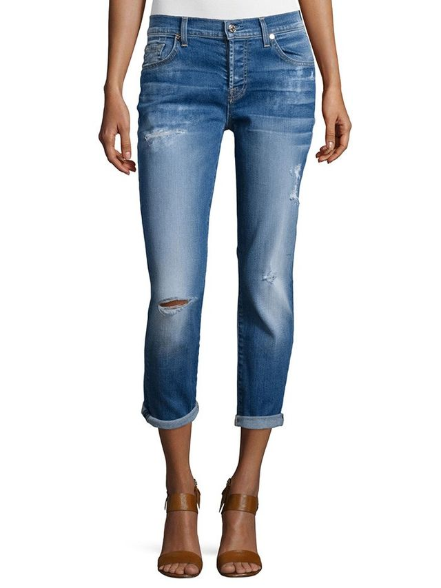 7 for All Mankind Josefina Distressed Cropped Jeans