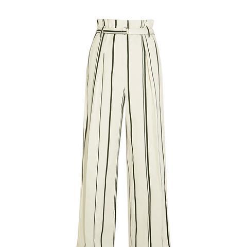 Striped Cotton and Linen-Blend Wide-Leg Pants