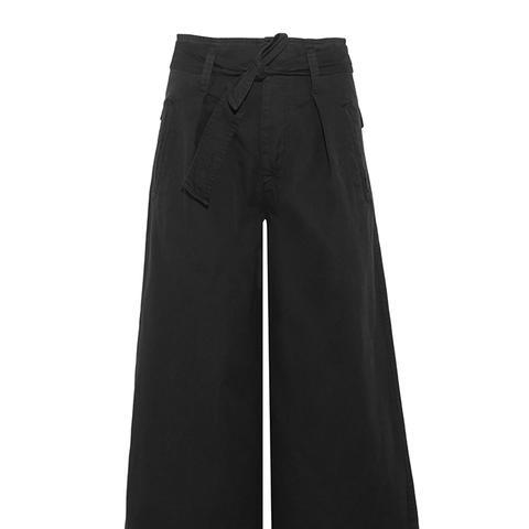 Odea Cropped Cotton-Twill Wide-Leg Pants