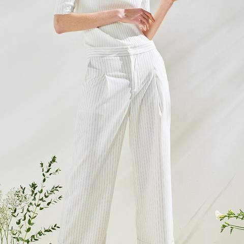 Pinstripe Wide Leg Crop Pants