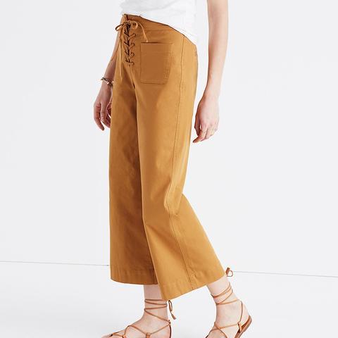 Lace-Up Wide-Leg Crop Pants