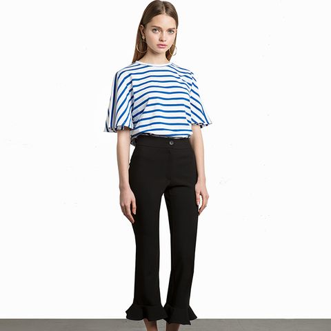 Black Ruffled Flare Crop Pants