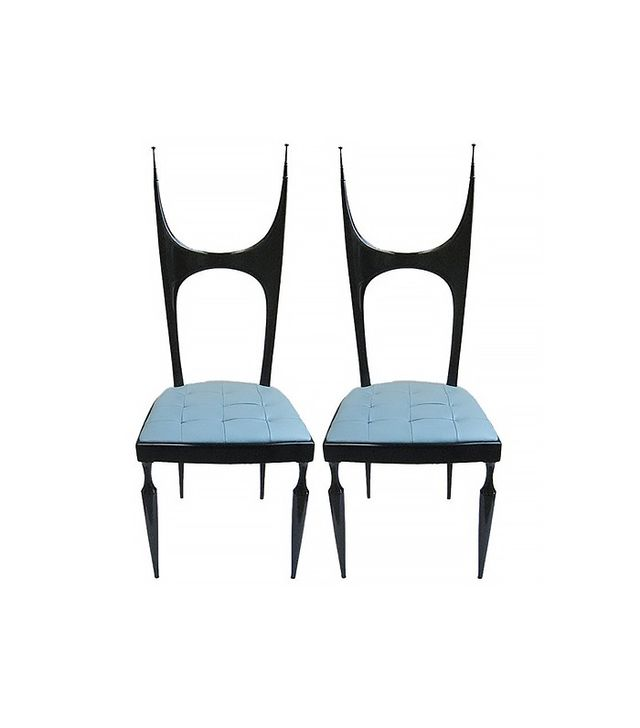 Pozzi and Verga Pair of Baby Blue Leather Upholstered Chairs