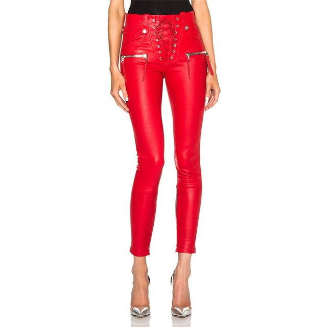 Unravel Lace Front Leather Skinny Pants