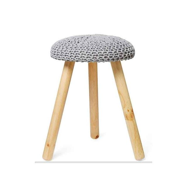 Big W Grey Jersey Stool