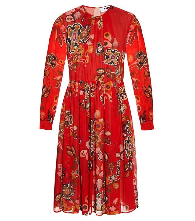 MSGM Floral-Print Silk Dress