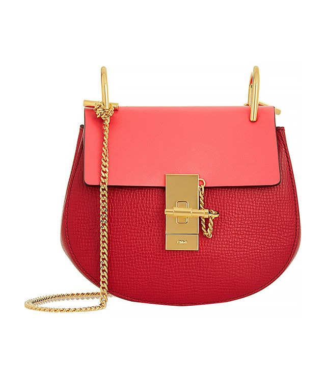Chloé Drew Mini Textured-Leather Shoulder Bag, Red/Pink