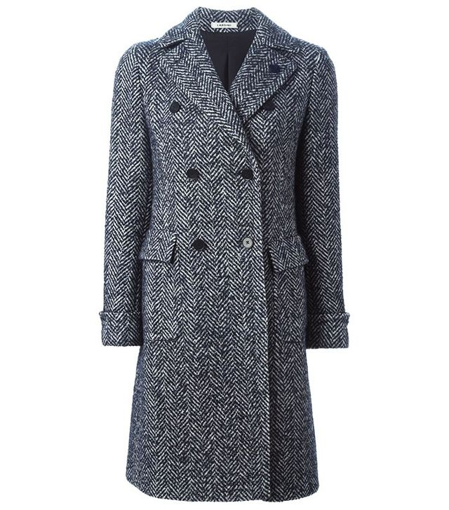 Lardini Herringbone Double Breasted Coat