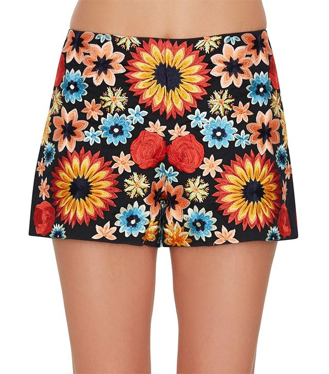 Alice and Olivia Sherri Embroidered Zip Back Shorts