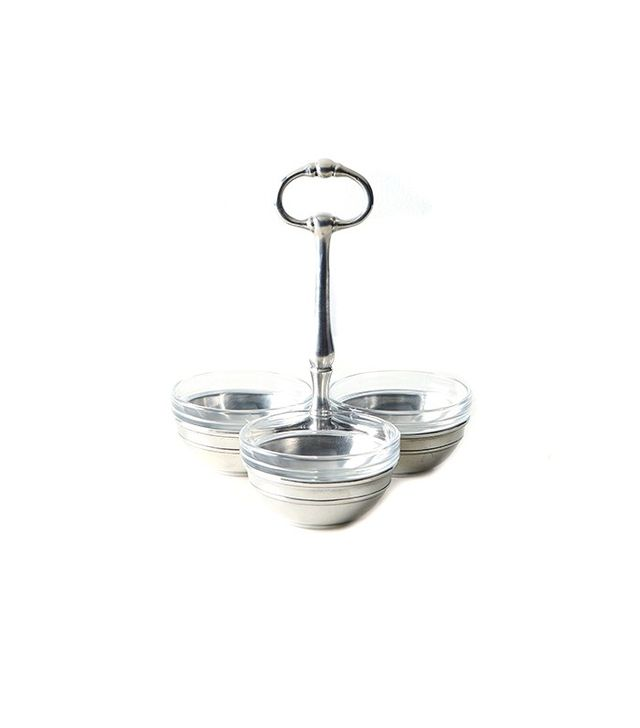 Food52 Pewter & Glass Condiment Trio Tray