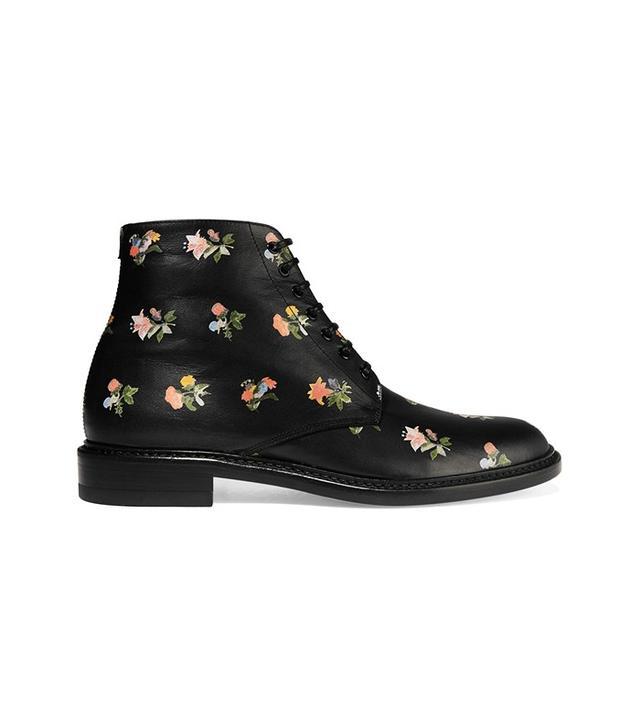 Saint Laurent Lolita Floral Print Leather Boots