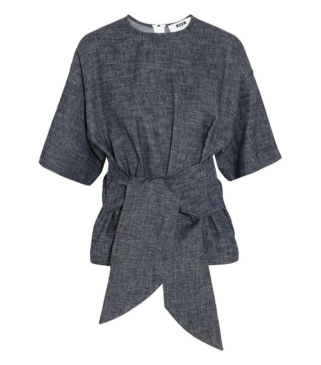MSGM Belted Cotton and Linen Chambray Top