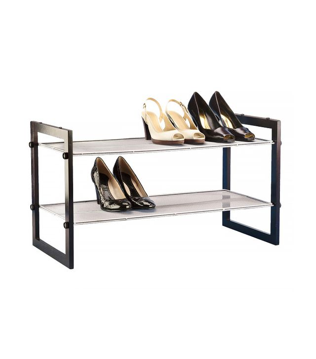 The Container Store Walnut 2-Tier Stackable Mesh Shoe Shelf