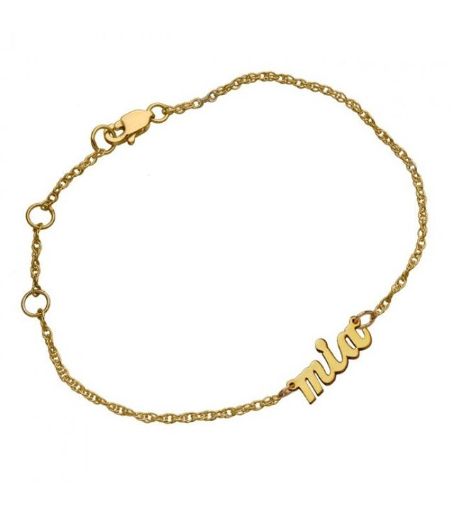 Jennifer Zeuner Serafina Mini Cursive Nameplate Bracelet