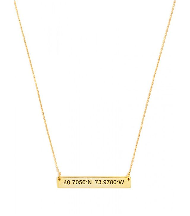 BaubleBar Engraved Coordinates Bar Pendant Necklace