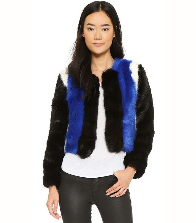 Line & Dot Colorblock Faux Fur Jacket