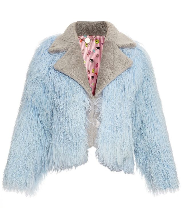 Charlotte Simone Biker Bi-Colour Shearling Bomber Jacket
