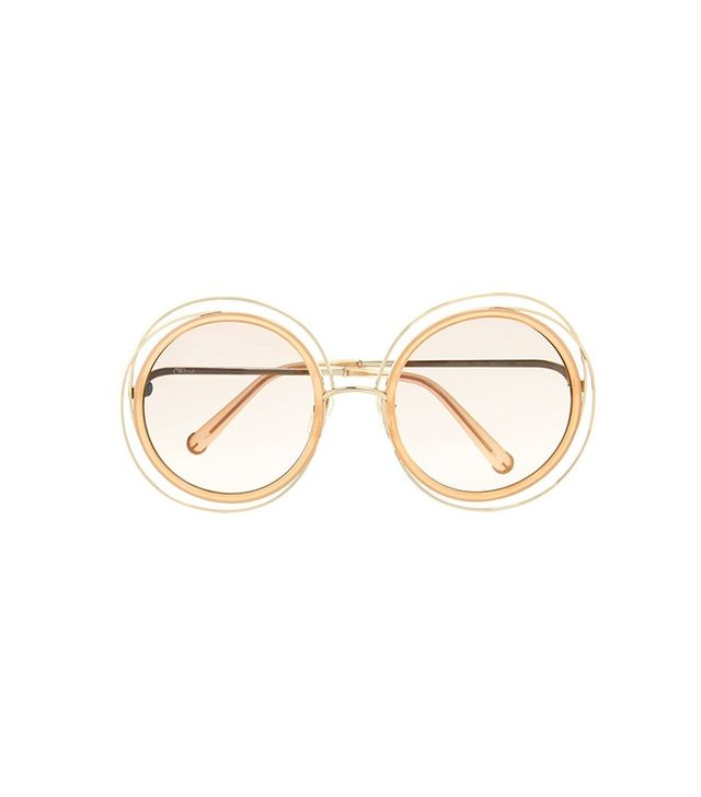 Chloé Carolina Round-Frame Gold-Tone Sunglasses