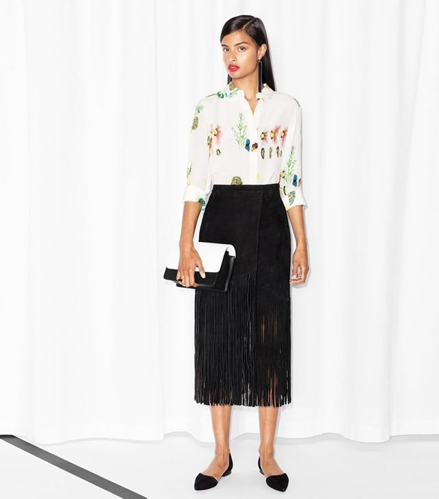 & Other Stories Fringed Suede Skirt