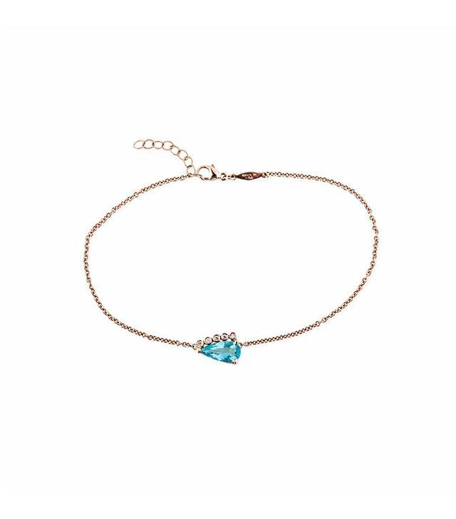 Jacqui Aiche 5 Diamond Blue Topaz Teardrop Anklet