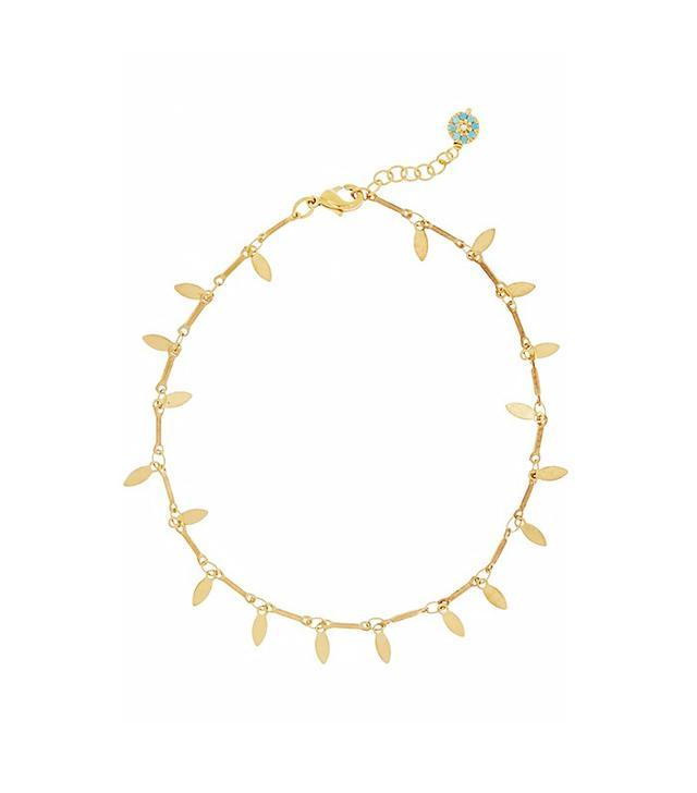 IAM by Ileana Makri Leaf Eye Gold-Plated Cubic Zirconia Anklet