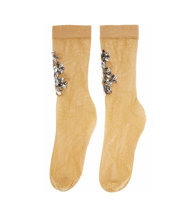 Dolce & Gabbana Crystal-Embellished Metallic Knitted Socks