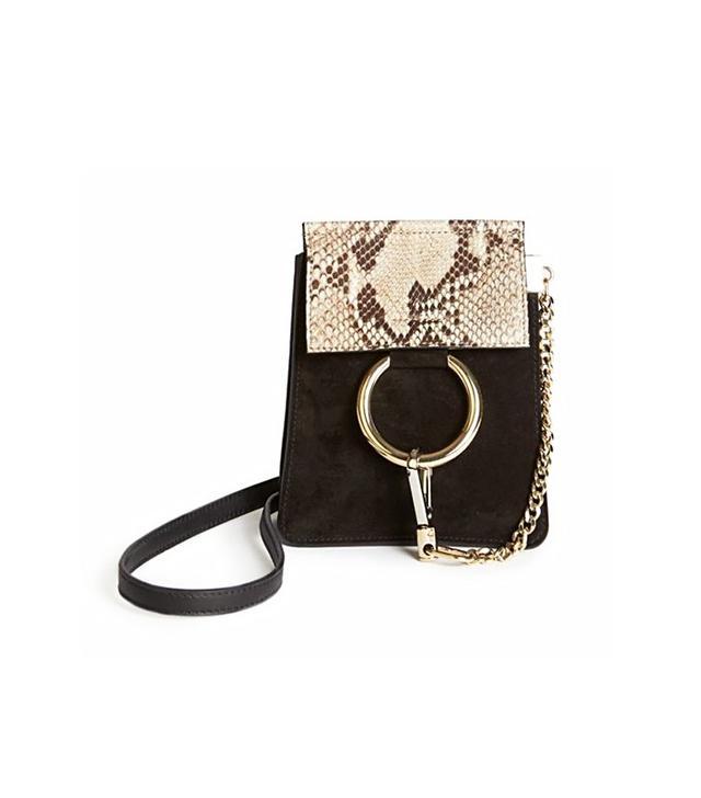 Chloé Faye Mini Suede & Python Embossed Leather Bracelet Crossbody Bag