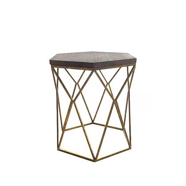 Threshold Chester End Table Gold Metal Hexagon
