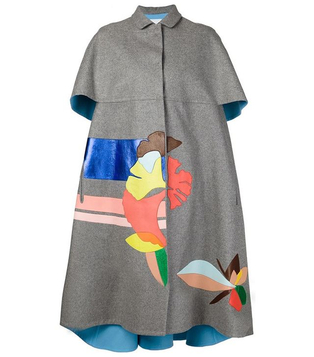 Delpozo Leather Appliqué Coat