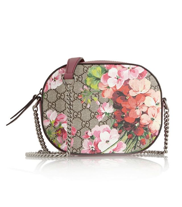 Gucci Blooms GG Supreme Leather-Trimmed Printed Coated Canvas Shoulder Bag